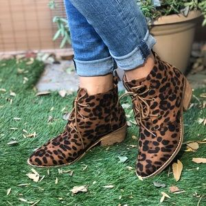 Faux Suede Leopard Print Ankle Boots